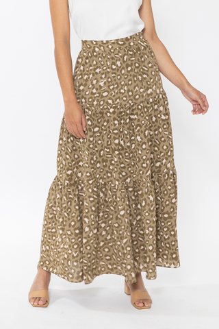 Faith Khaki Safari Tiered Maxi Skirt