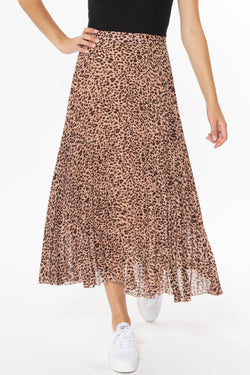 Sunray Peach Leopard Pleated Midi Skirt