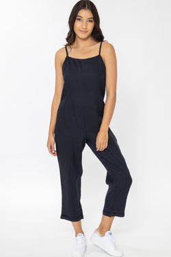Holiday Navy Linen Strappy Relax Jumpsuit