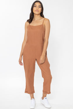 Holiday Rust Linen Strappy Relax Jumpsuit