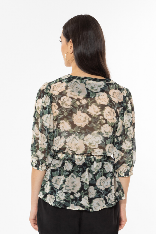 Big Love Forest Floral LS V-Neck Tie Waist Top