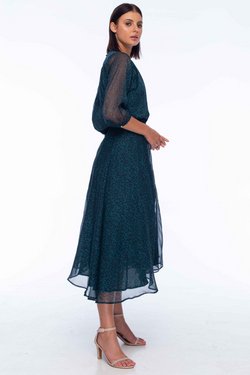 With Love Emerald Leopard Chiffon LS Midi Dress
