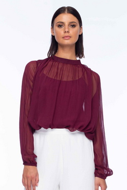 Adoration Mulberry Crinckle Chiffon High Neck Blouse