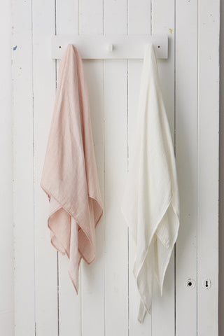 Two Muslin Wraps - White and Rose
