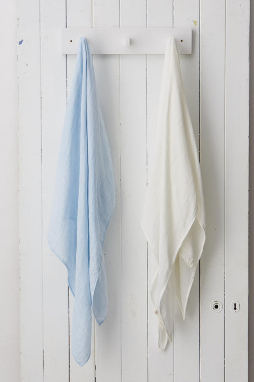 Set of 2 Muslin Wraps Chalk + Sky Blue
