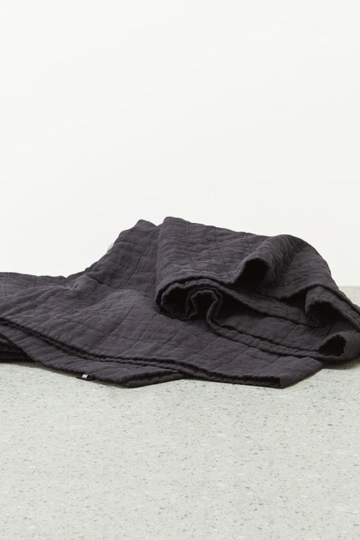 Belgian Washed Linen Graphite Quilted Coverlet