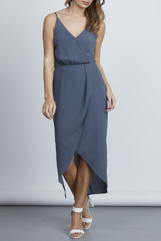 Joyful Midi Tulip Steel Blue Dress