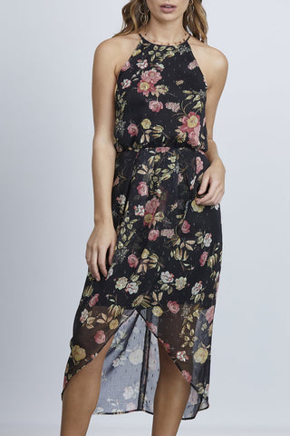Riviera High Neck Tulip Floral Black Dress
