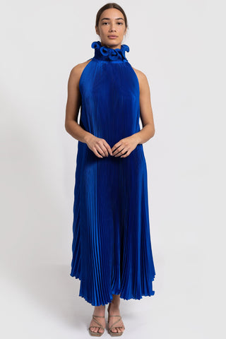 Bisous Cobalt Blue Mini High Neck Satin Pleated Dress