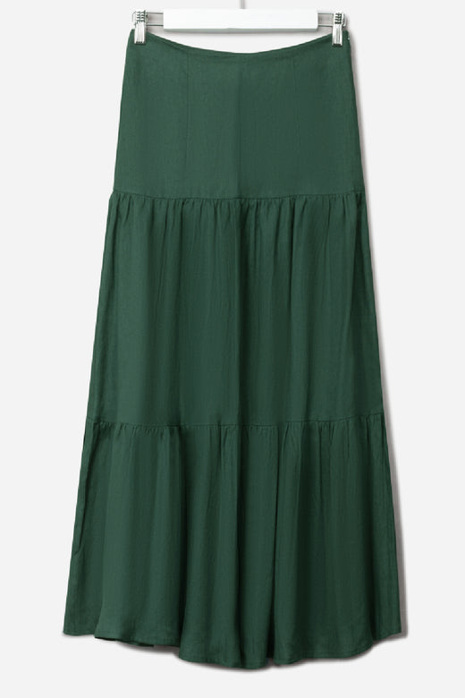 Blazing Forest Tiered Linen Midi Skirt