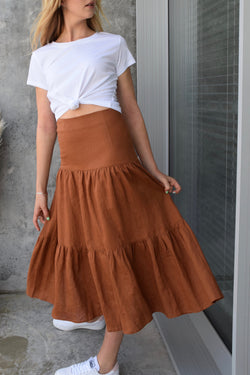 Blazing Nutmeg Tiered Linen Midi Skirt
