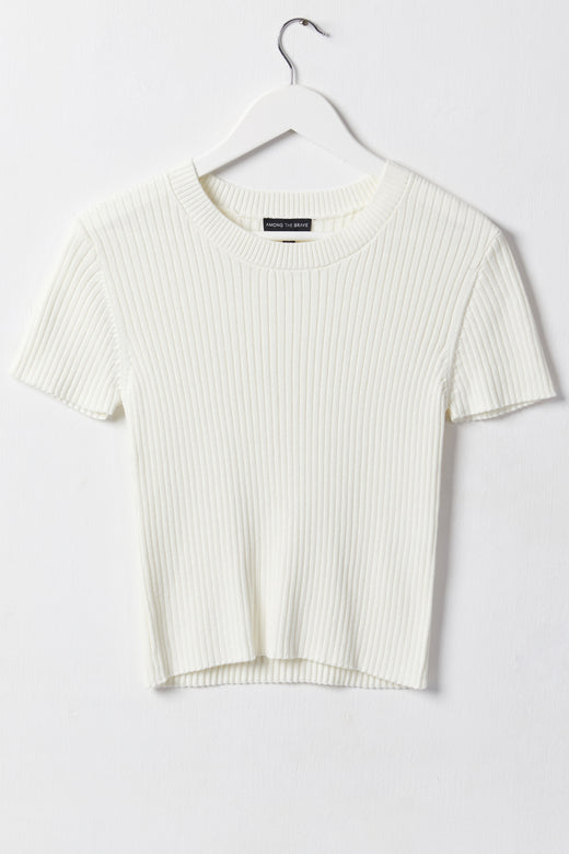 Blissful Ivory Rib Knit Crew Neck Top