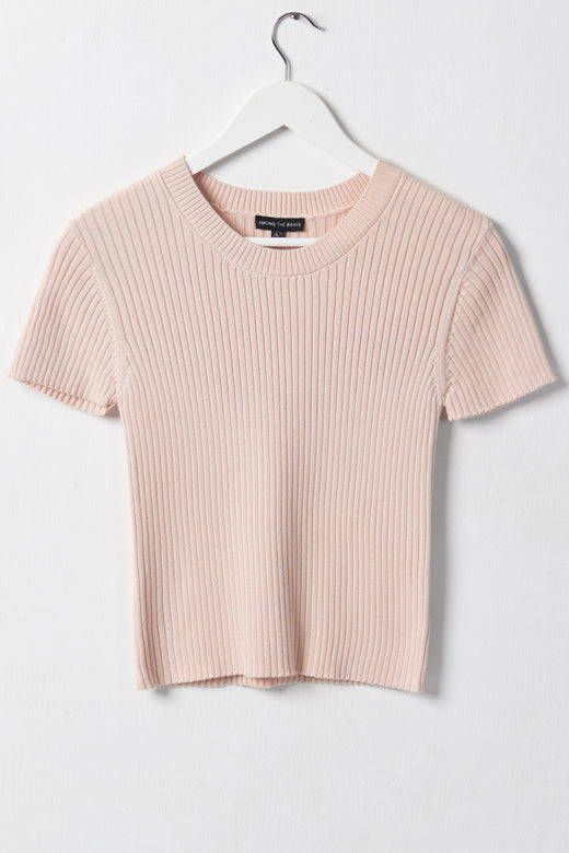 Blissful Blush Rib Knit Crew Neck Top
