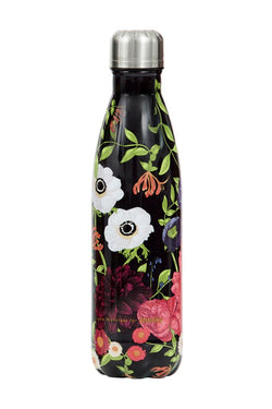 Printed Black Bloom Metal Drink Bottle