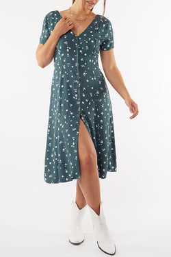 Teal Blossom Print V Neck Midi Dress