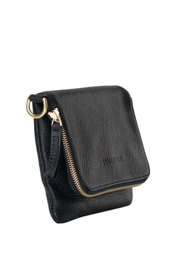 Bobi Leather Fold Over Black Clutch with Gold Chain