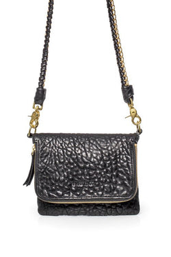 Bobi Leather Fold Over Black Bubble Clutch with Gold Chain