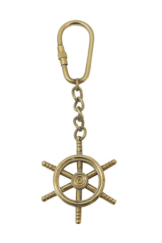 Brass Ships Wheel Key Chain