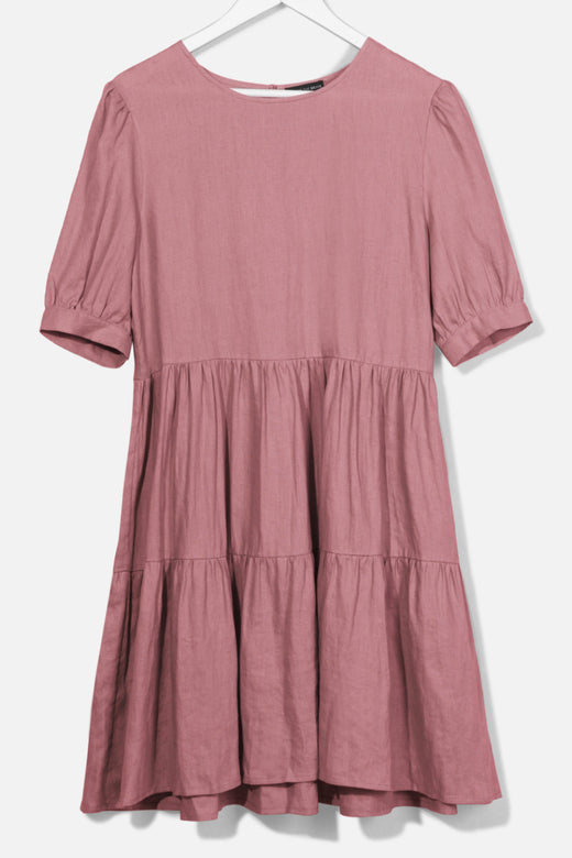 Breathtaking Puff Sleeve Brick Tiered Linen Smock Dress