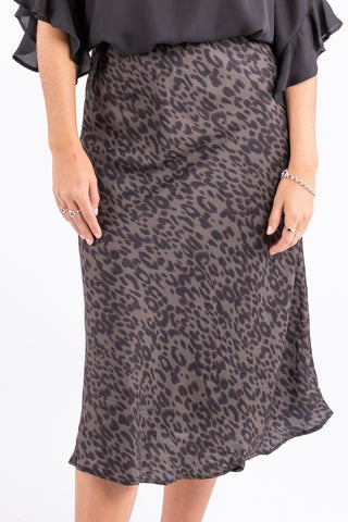 Broadway Khaki Animal Bias Midi Skirt