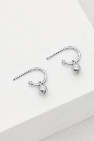 Bud Base Hoop Earrings Sterling Silver