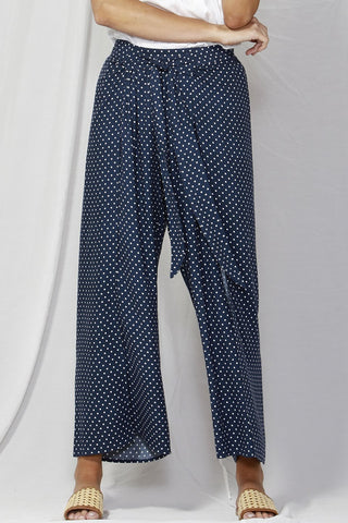 By The Sea Wide Leg Dotty Navy Pant