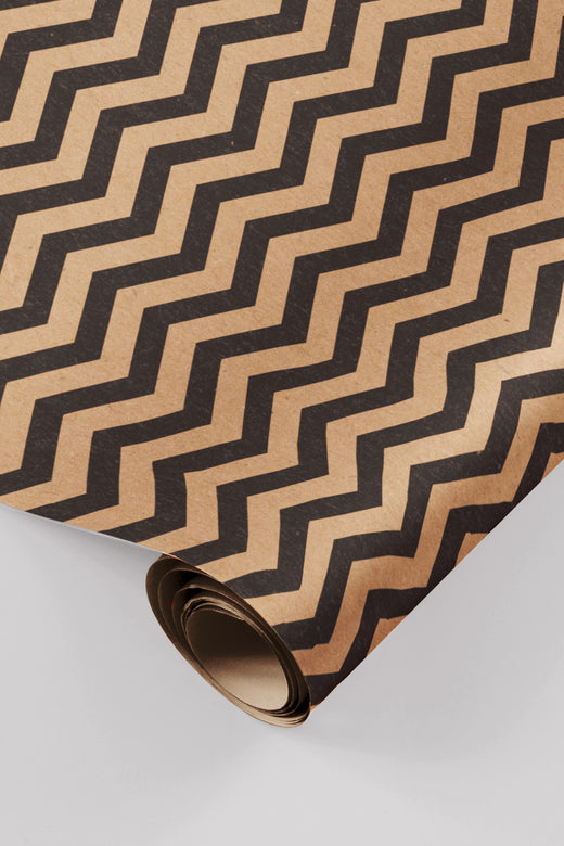 Zig-Zag Kraft Black Wrapping Paper