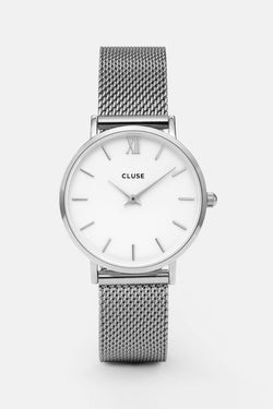 Minuit Silver Mesh Strap with White Watch