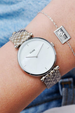 Triomphe Silver Soft Almond Python Watch