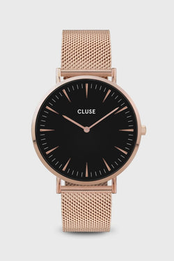 LaBoheme Rose Gold Mesh Strap with Black Face Watch