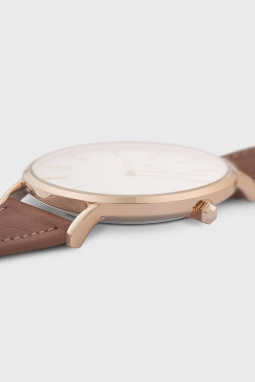 LaBoheme Rose Gold White with Caramel Leather Strap Watch