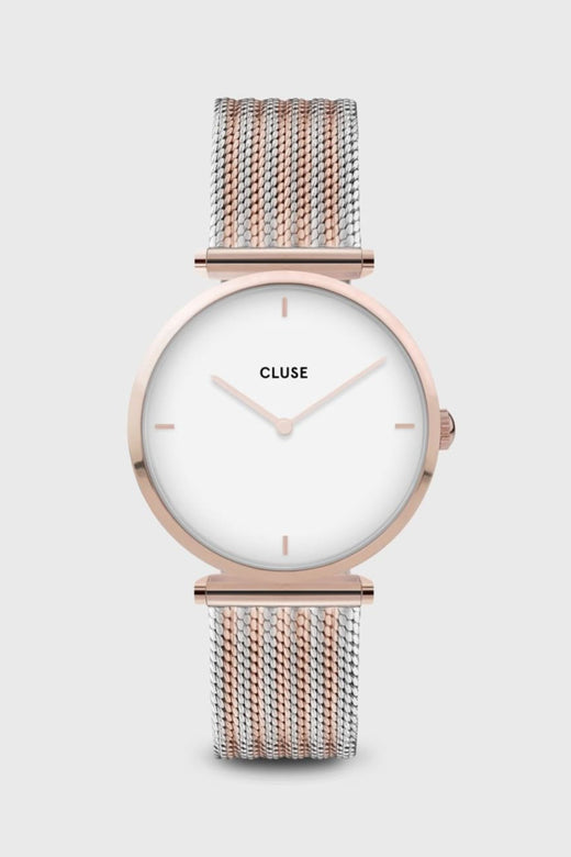 Triomphe Rose Gold Silver Mesh Strap Watch