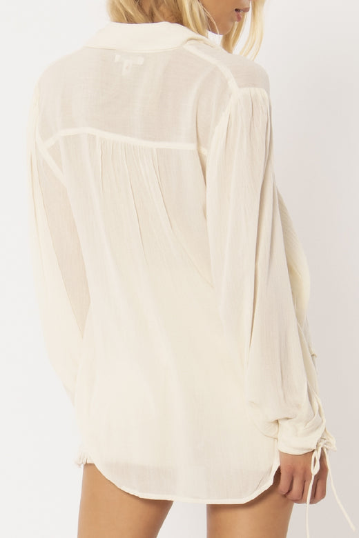 Caravan LS White Button Blouse