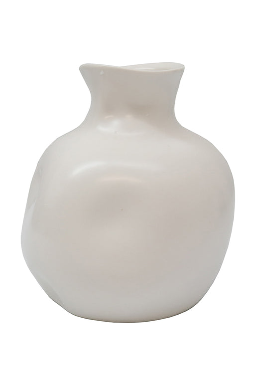 Ceramic Abstract Vase White 14cm