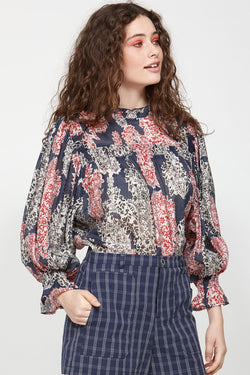 Chalet LS Navy Print Top