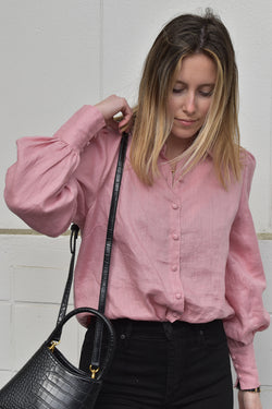 Champion Rose Puff Sleeve Linen Shirt with Deep Cuff