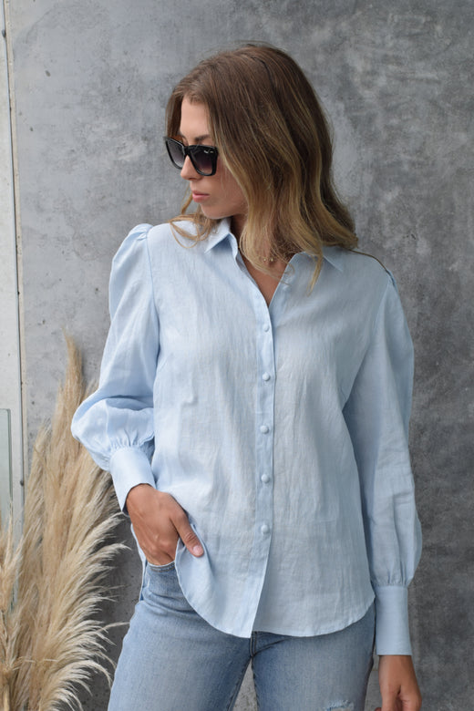 Champion Ice Blue Puff Sleeve Linen Shirt with Deep Cuff