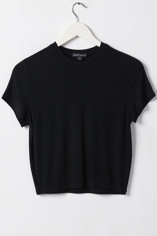 Cheerful SS Cropped Black Rib Tee