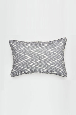Chevron Ikat Graphite Lumbar Cushion 35x60cm