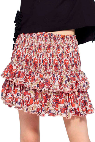 Goody Tu Tus Frill Shirred Floral Skirt Pink