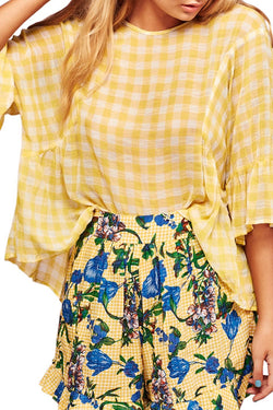 Square Dance Yellow Check Top