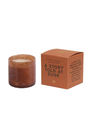 A Story Told at Dusk Glass Candle Amber