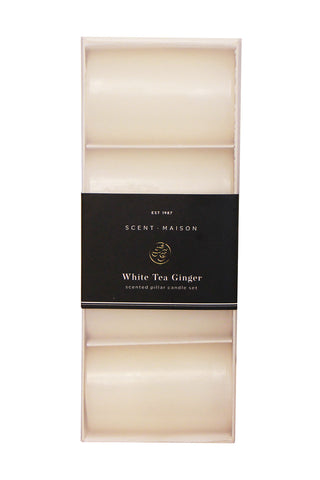 Maison Set 4 Pillar Candle White Tea Ginger 2x3 Inchs