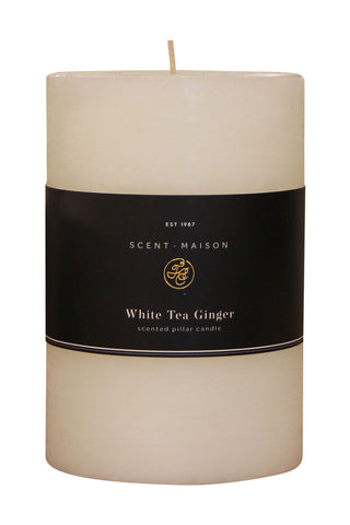 Maison Pillar Candle White Tea Ginger 4x6 Inches