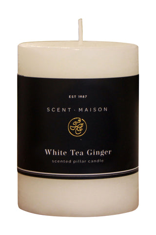 Maison Pillar Candle White Tea Ginger 3x4 Inches