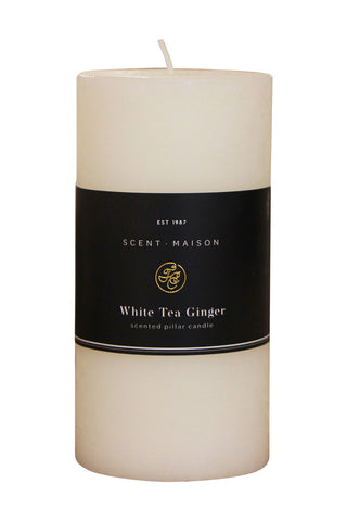 Maison Pillar Candle White Tea Ginger 3x6 Inches