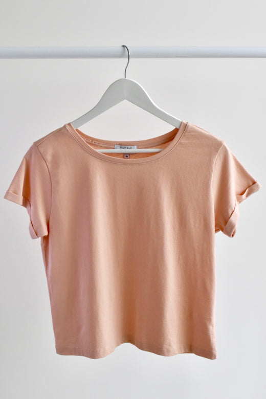 Roxy Rolled Sleeve Blush Crop Organic Tee
