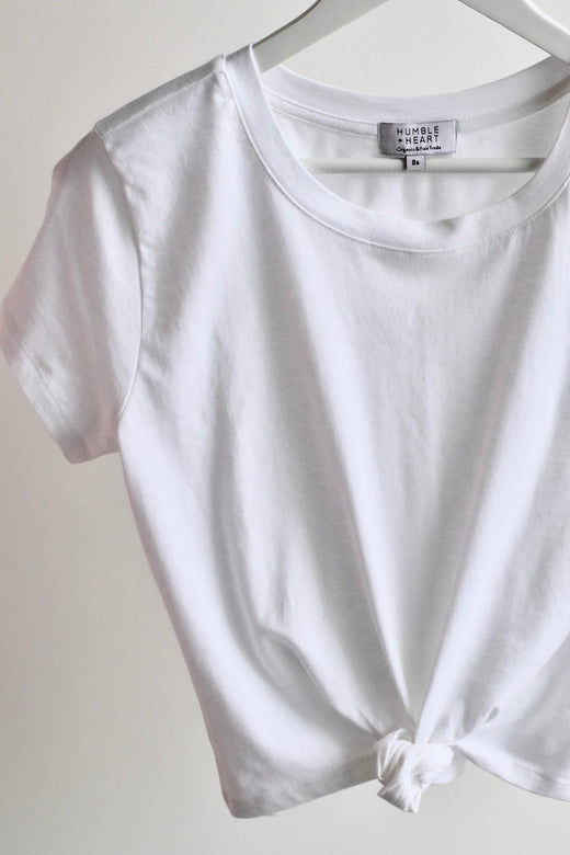Timeless Tie Front White Organic Tee