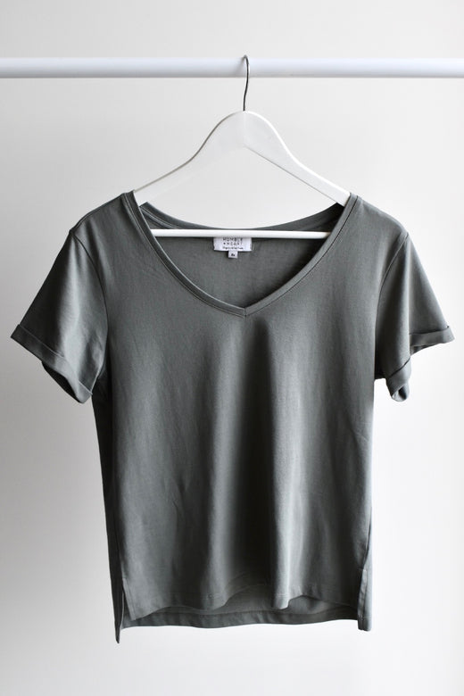 Humble V Neck Seagrass Organic Tee