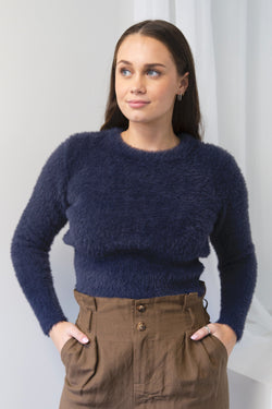 Lovable Navy Eyelash Yarn Cropped Crew Neck Knit